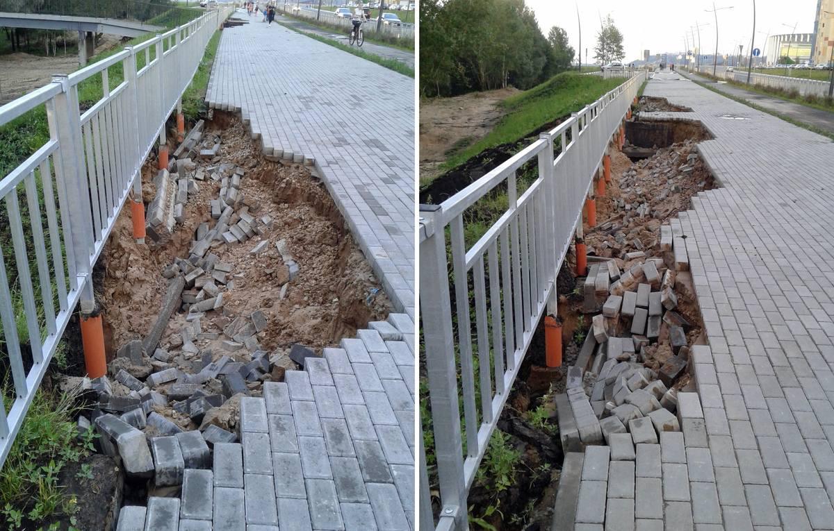 Грунт в районе отремонтированной недавно Волжской набережной в Нижнем Новгороде размыло